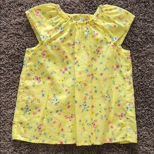 Yellow Butterfly and Floral Print Top